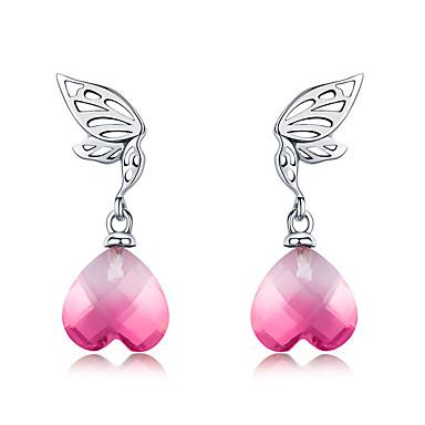 baratos Bijuteria de Mulher-Nova chegada 925 prata esterlina asas de esperança rosa de cristal coração brincos para mulheres casamento noivado jóias bs28e015