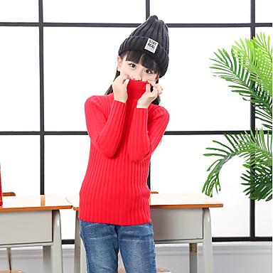 baratos Suéteres & Cardigans para Meninas-Infantil Bébé Para Meninas Activo Básico Sólido Listrado Manga Longa Suéter & Cardigan Preto