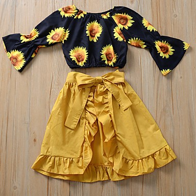halpa Tyttöjen vaatteet-Taapero Tyttöjen Aktiivinen Boheemi Päivittäin Loma Sun Flower Geometrinen Röyhelö Painettu Pitkähihainen Lyhyt Lyhyt Vaatesetti Punastuvan vaaleanpunainen