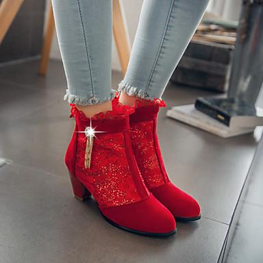 voordelige Dameslaarzen-Dames Laarzen Kegelhak Ronde Teen PU Korte laarsjes / Enkellaarsjes Vintage / Brits Herfst winter Zwart / Rood / Beige / Bruiloft