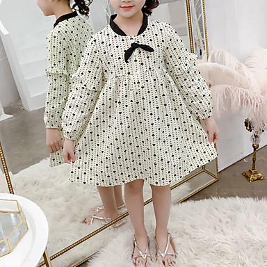 baratos Vestidos para Meninas-Infantil Bébé Para Meninas Doce Estilo bonito Coração Frufru Estampado Manga Longa Acima do Joelho Vestido Bege
