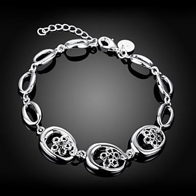 abordables Bracelet-Chaînes Bracelets Femme Fleur Elégant Bracelet Bijoux Argent Forme Géométrique pour Quotidien Travail