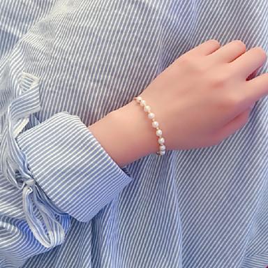 baratos Bangle-Mulheres Bracelete Pulseiras Algema Entrançado Precioso Clássico Boêmio Básico Férias Fashion Pérola Pulseira de jóias Dourado Para Casamento Presente Diário Promessa Festival / Chapeado Dourado