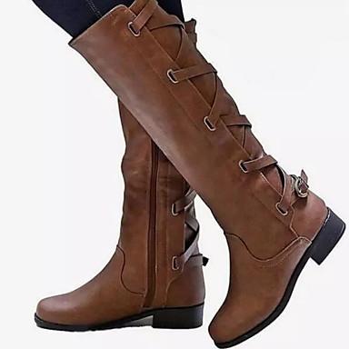 voordelige Dameslaarzen-Dames Laarzen Blok hiel Ronde Teen PU Kuitlaarzen Herfst winter Zwart / Geel / Rood