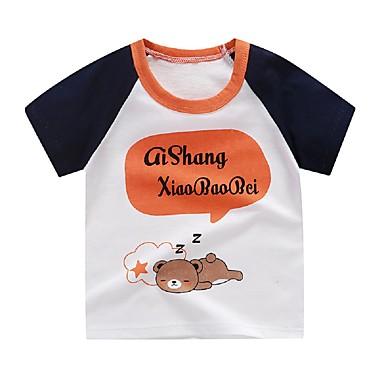 baratos Camisas para Meninos-Infantil Para Meninos Básico Geométrica Manga Curta Camiseta Preto