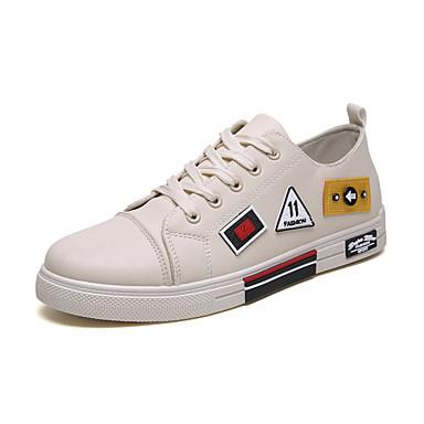 Erkek Ayakkabı PU İlkbahar yaz / Sonbahar Kış Günlük / Çıtı Pıtı Spor Ayakkabısı Günlük / Ev için Siyah / Beyaz / Bej