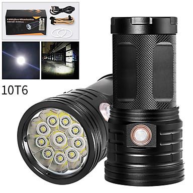 XM10 LED Fenerler LED LED 10 Emitörler 8000 lm Kullanım Kılavuzu 3 Işıtma Modu USB Kablosu ile Su Geçirmez Profesyonel Anti-Şok Kamp / Yürüyüş / Mağaracılık Polis / Ordu Bisiklete biniciliği Beyaz