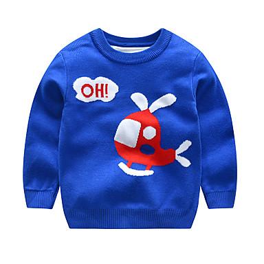 baratos Suéteres & Cardigans para Meninos-Infantil Bébé Para Meninos Activo Básico Geométrica Estampado Estampado Manga Longa Suéter & Cardigan Azul Real