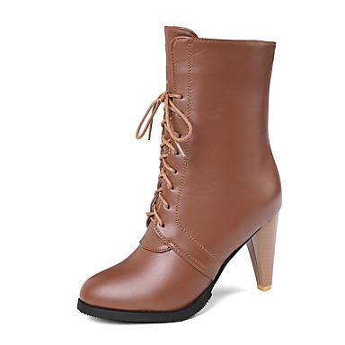 voordelige Dameslaarzen-Dames Laarzen Kegelhak Ronde Teen PU Lente & Herfst / Herfst winter Zwart / Bruin / Beige