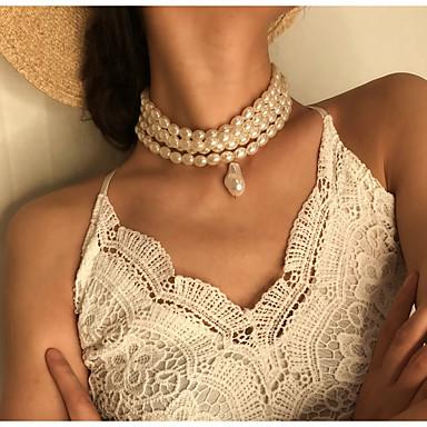 billige Mote Halskjede-Dame Anheng Halskjede Halskjede lagdelte Hals trendy Mote Elegant Perle Hvit 33 cm Halskjeder Smykker 1pc Til Bryllup Gave Daglig Ferie Festival