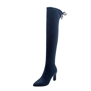 voordelige Dameslaarzen-Dames Laarzen Blokhak Gepuntte Teen Suède Over de knie laarzen Klassiek / minimalisme Herfst winter Zwart / Wijn / Luipaard