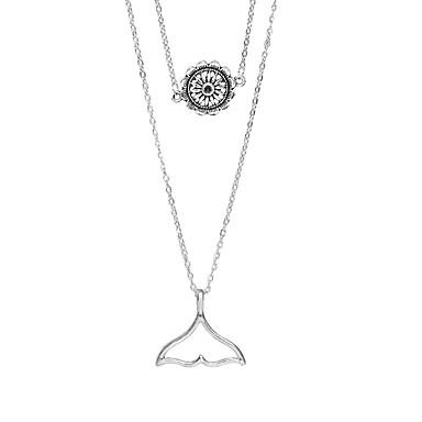 abordables Collier-Collier Multirang Femme Sirène simple Argent 48 cm Colliers Tendance Bijoux 1pc pour Quotidien