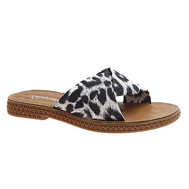 voordelige Damespantoffels & slippers-Dames Slippers & Flip-Flops Platte hak Ronde Teen Suède Zomer Wit / Geel