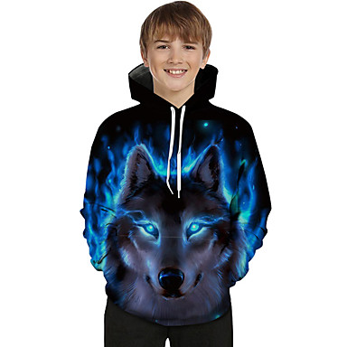 cheap Boys' Hoodies & Sweatshirts-Kids Toddler Boys' Active Basic Wolf Geometric Print Color Block Print Long Sleeve Hoodie & Sweatshirt Blue
