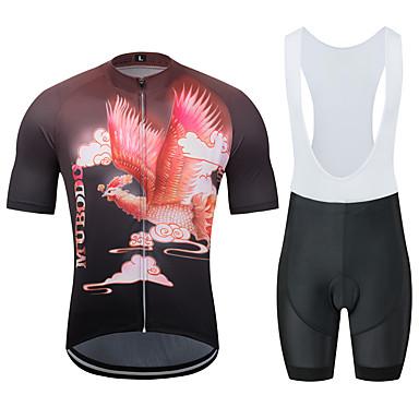 MUBODO Hayvan Anka kuşu Erkek Kısa Kollu Askılı Şortlu Bisiklet Forması - Siyah / kırmızı Bisiklet Giysi Takımları Nefes Alabilir Nem Emici Hızlı Kuruma Spor Dalları Tül Dağ Bisikletçiliği Yol