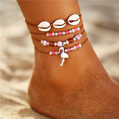 voordelige Dames Sieraden-Dames Enkelband kralen Flamingo Schelp Vintage Bohémien Modieus Verzilverd Enkelring Sieraden Roze Voor Lahja Dagelijks Carnaval Feestdagen Reizen / 3 stuks