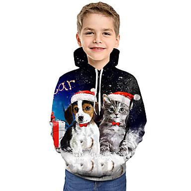 baratos Moletons Para Meninos-Infantil Bébé Para Meninos Activo Básico Gato Cachorro Papai Noel Geométrica Galáxia Estampado Estampado Manga Longa Moleton & Blusa de Frio Arco-íris