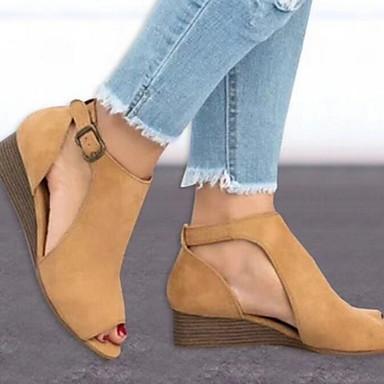 hesapli Kadın Sandaletleri-Kadın's Sandaletler Düz Taban Burnu Açık PU Yaz Siyah / Sarı / Gri