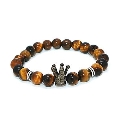 abordables Bracelet-Bracelet à Perles Homme Femme Classique Couronne Décontracté / Sport Bracelet Bijoux Noir Blanche pour Plein Air
