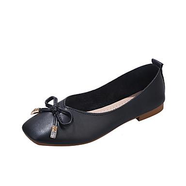 Kadın's Mokasen & Bağcıksız Ayakkabılar Düşük Topuk Dörtgen Uçlu Fiyonk PU Klasik Yürüyüş İlkbahar & Kış Siyah / Deve / Bej