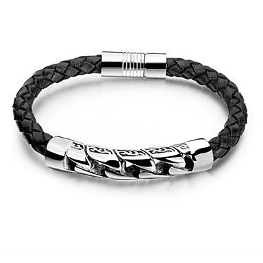 voordelige Herensieraden-Heren Lederen armbanden gevlochten Draken Slang Stijlvol PU-nahka Armband sieraden Zwart Voor Dagelijks Feestdagen / Titanium Staal