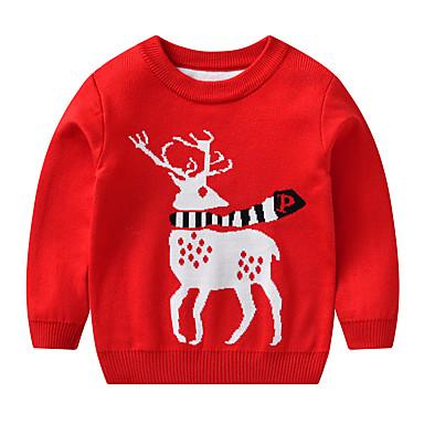 baratos Suéteres & Cardigans para Meninos-Infantil Bébé Para Meninos Activo Básico Floco de Neve Geométrica Estampado Estampado Manga Longa Suéter & Cardigan Vermelho