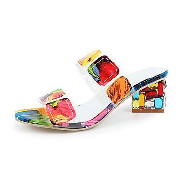 abordables Zapatos de Mujer-Mujer Sandalias Tacón Cuadrado Puntera abierta PU Casual Verano Negro / Amarillo / Bloques
