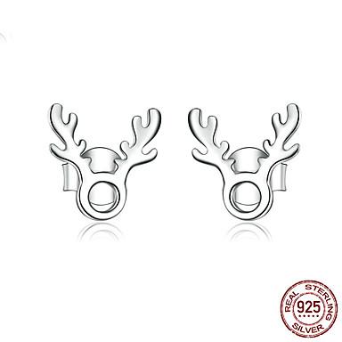 voordelige Dames Sieraden-Dames Oorknopjes Klassiek Elk Stijlvol Eenvoudig Europees modieus Koreaans S925 Sterling Zilver oorbellen Sieraden Zilver Voor Kerstmis Lahja Dagelijks Werk Festival 1 paar