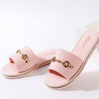 voordelige Damespantoffels & slippers-Dames Slippers & Flip-Flops Platte hak Ronde Teen PVC Zomer Zwart / Lichtbruin