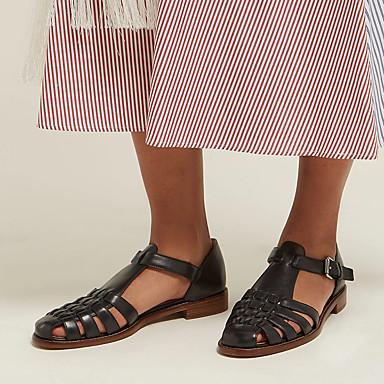 Kadın's Sandaletler Kalın Topuk Yuvarlak Uçlu Toka PU Tatlı / Minimalizm İlkbahar & Kış / İlkbahar yaz Siyah / Beyaz