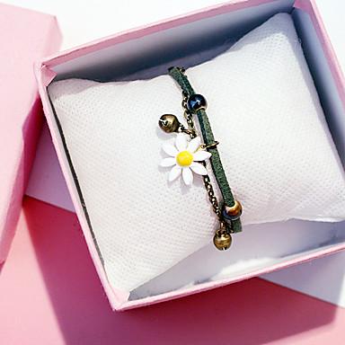 abordables Bracelet-Bracelet Multi Tour Bracelets Vintage Boucles d'oreilles / Bracelet Femme Multirang Forme de Feuille Fleur simple Classique Rétro Vintage Mode Le style mignon Bracelet Bijoux Vert Jaune Rose pour