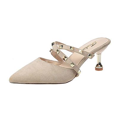 voordelige Damespantoffels & slippers-Dames Slippers & Flip-Flops Kleine hak Siernagel PU Informeel Zomer Zwart / Amandel