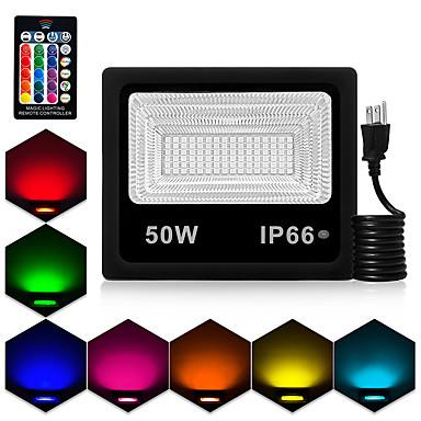 billige Utendørsbelysning-1pc 50 W LED-lyskastere Vanntett / Fjernstyrt / Mulighet for demping RGB 85-265 V Courtyard / Have 90 LED perler