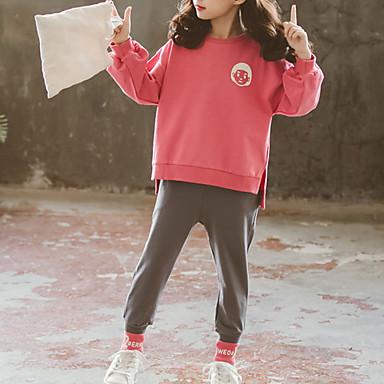 baratos Conjuntos para Meninas-Infantil Bébé Para Meninas Básico Moda de Rua Para Noite Casual Estampado Fenda Estampado Manga Longa Curto Curto Conjunto Rosa