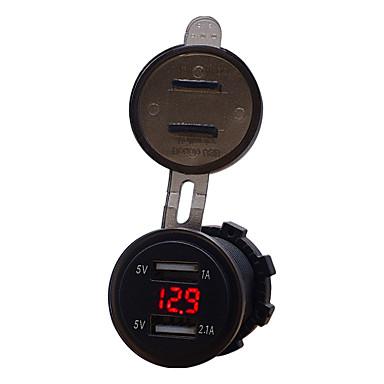 voordelige Automatisch Electronica-auto motorfiets 12v mobiele telefoon autolader dual usb 3.1a sigarettenaansteker lader modellenblauw 3.1a dual usb voltmeter