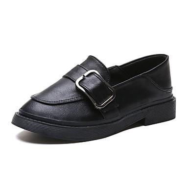 Kadın's Mokasen & Bağcıksız Ayakkabılar Düşük Topuk PU Günlük Yaz Siyah