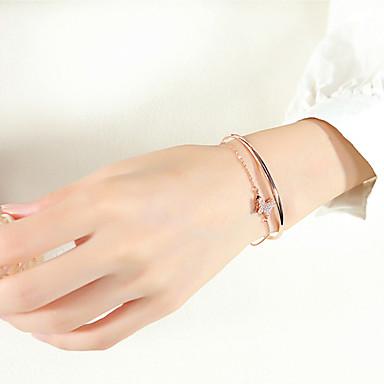 abordables Bracelet-Manchettes Bracelets Femme Sculpture Zircon cubique Papillon simple Baroque Tendance Bracelet Bijoux Dorée Rose Forme Géométrique pour Mariage Cadeau Plein Air