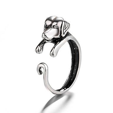 billige Motering-Herre Dame Ring 1pc Sølv Kobber Sirkelformet Vintage Grunnleggende Mote Festival Smykker Hunder Dyr Kul Smuk