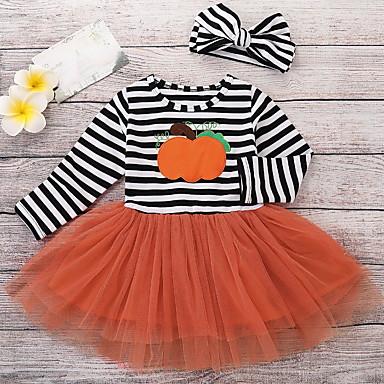 Недорогие Платья для малышей-малыш Девочки Уличный стиль Полоски Длинный рукав Платье Белый