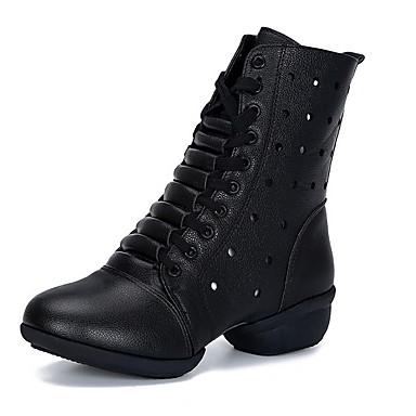 billige Dance Boots-Dame Dansesko Syntetisk Dansestøvler Støvler Flat hæl Svart / Hvit / Rød