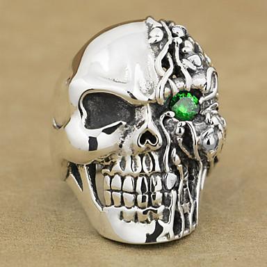 voordelige Herensieraden-Heren Ring 1pc Rood Groen Blauw Strass Legering Onregelmatig Vintage Punk Etnisch Dagelijks Sieraden Vintagestijl Schedel