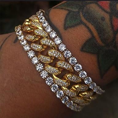 voordelige Herensieraden-Heren Vintage Armbanden Oorbellen / armband Tennis ketting Lucky Vintage modieus Modieus Gesimuleerde diamant Armband sieraden Goud Voor Dagelijks