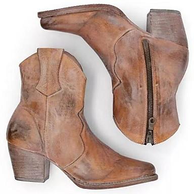 voordelige Dameslaarzen-Dames Laarzen Blokhak Gepuntte Teen PU Kuitlaarzen Winter Lichtbruin / Donker Bruin / Wit