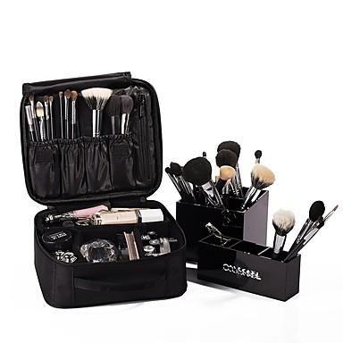 ieftine Genți-Unisex Pană / Blană Îmbrăcăminte Oxford / Poliester Geantă Cosmetice Culoare solidă Negru / Negru Gri / Toamna iarna