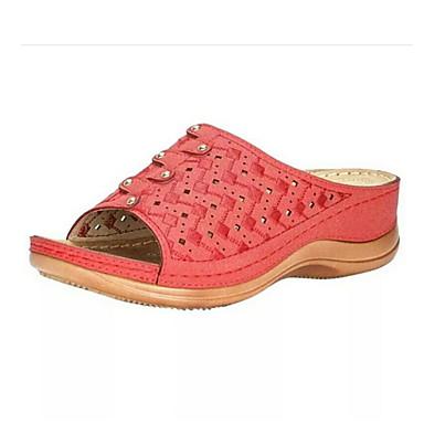 voordelige Damespantoffels & slippers-Dames Slippers & Flip-Flops Platte hak Ronde Teen PU Zomer Rood / Blauw / Grijs