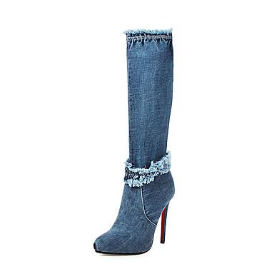 voordelige Dameslaarzen-Dames Laarzen Naaldhak Gepuntte Teen Denim / PU Knielaarzen Zakelijk / Brits Herfst winter Zwart / Blauw / Feesten & Uitgaan
