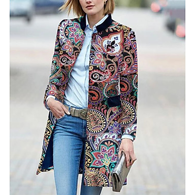 voordelige Nieuwe collectie-Dames Dagelijks Standaard Winter Lang Trenchcoat, Geometrisch Opstaand Lange mouw Polyester Print Rood