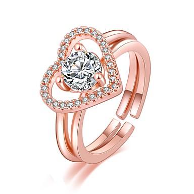 levne Fashion Ring-Dámské Prsten 2pcs Růžové zlato / Stříbrná Měď Kulatý Základní / korejština / Módní Dar / Dovolená Kostýmní šperky