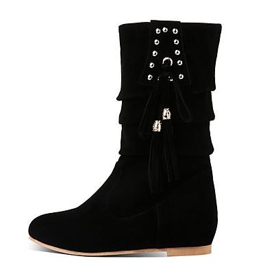voordelige Dameslaarzen-Dames Laarzen Platte hak Ronde Teen Suède Kuitlaarzen Herfst winter Zwart / Kameel / Rood