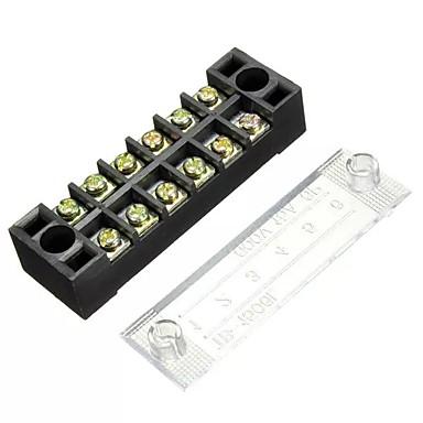 voordelige Automatisch Electronica-600v 15a 6-positie dubbele rij draadafsluitblok schroefklemmenstrookpaneel